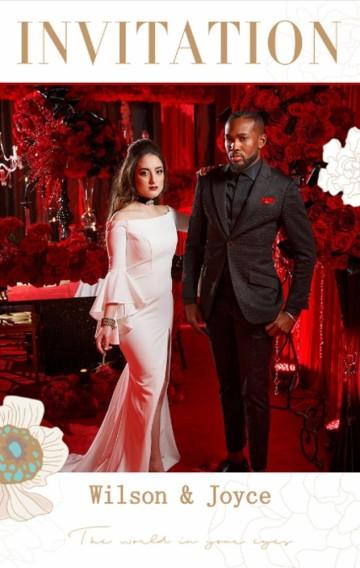 金色牡丹时尚现代婚礼邀请函请柬喜帖