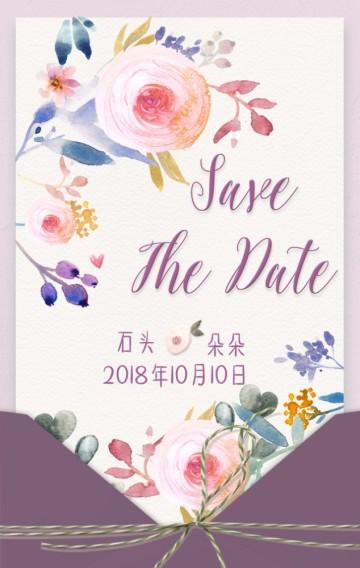 粉紫梦幻玫瑰婚礼请柬