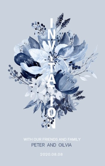 灰蓝色 花卉 水彩 晕染 高级灰 雾霾蓝 婚礼 宴会 邀请