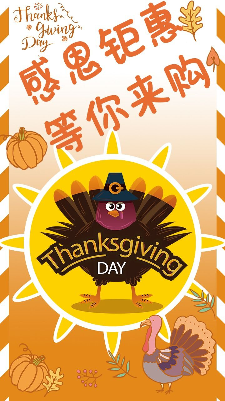 感恩节购物促销手绘动画海报