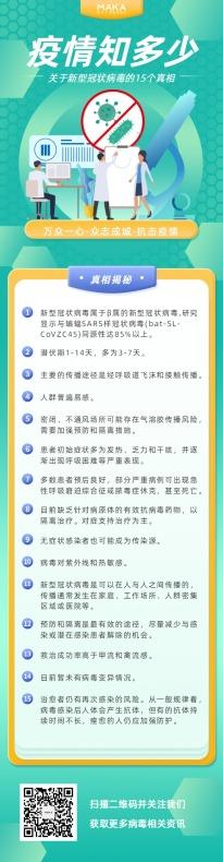 绿色新型冠状病毒疫情医疗健康知识宣传长页H5