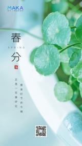 绿色清新简约二十四节气之春分时节海报