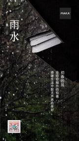 高雅屋檐雨水节气海报
