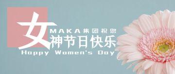 简约小清新蓝粉三八妇女节女神节女王节节日祝福花朵公众号封面
