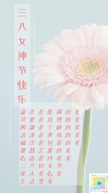 简约小清新蓝粉三八节妇女节女神节女王节节日祝福花朵海报