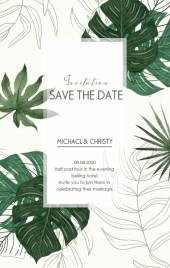 龟背叶热带植物ins小清新现代简约白绿婚礼请柬邀请函