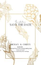 白金手绘线条花卉婚礼请柬邀请函
