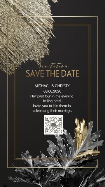 黑金热带植物金箔现代极简时尚婚礼请柬海报