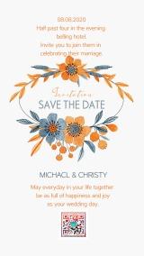 蓝橙色花环手绘小花清新可爱婚礼请柬