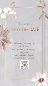 灰色几何金色边框手绘花朵蝴蝶兰百合婚礼请柬海报