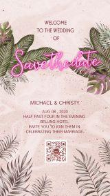 ins风热带植物粉色肌理霓虹灯元素婚礼请柬海报