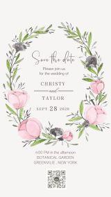 水彩手绘粉色花卉花环婚礼请柬海报