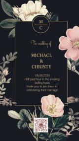 油画大花卉复古手绘花朵黑粉金婚礼请柬邀请函