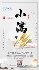 灰黑色水墨中国风小满时节二十四节气心情日签手机宣传海报