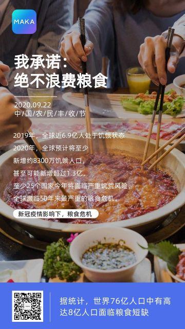 蓝色实景节约粮食中国农民丰收节公益手机海报