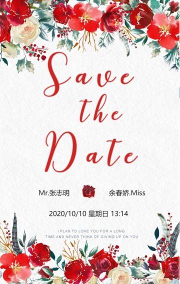西式森系酒红色唯美婚礼请柬清新婚礼邀请函结婚请贴