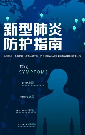 蓝色新型冠状病毒肺炎防护指南科普H5