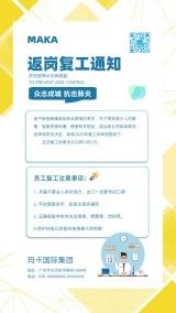 清新文艺企业/事业单位返工复工宣传通知海报