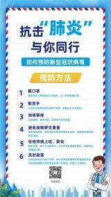 温馨蓝色治愈系医疗健康行业冠状病毒预防知识宣传海报