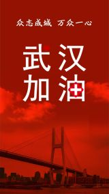 简约扁平红色新型冠状病毒肺炎武汉加油、中国加油鼓励宣传温馨海报