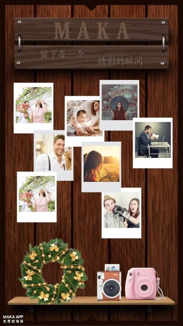 怀旧复古木纹背景照片拍立得墙贴图模纹/圣诞气息
