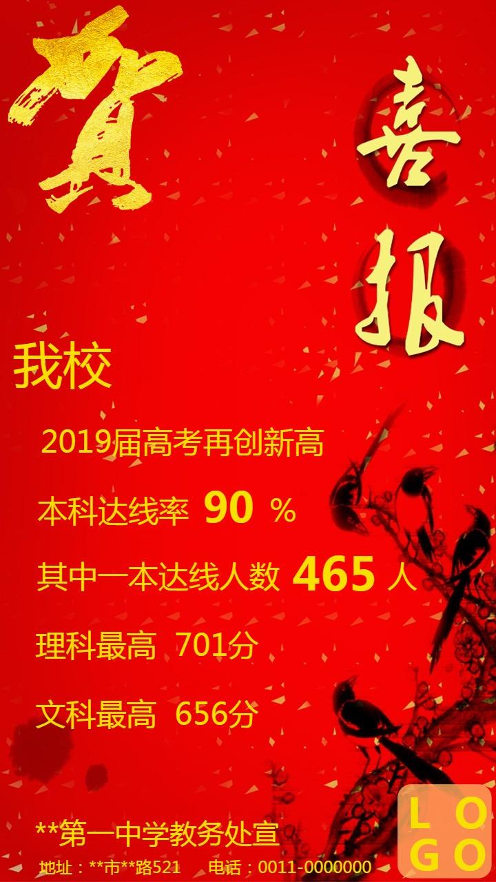 2019中高考喜报红色中国风通用模板