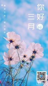 3月春游春天简约风格活动宣传海报模板