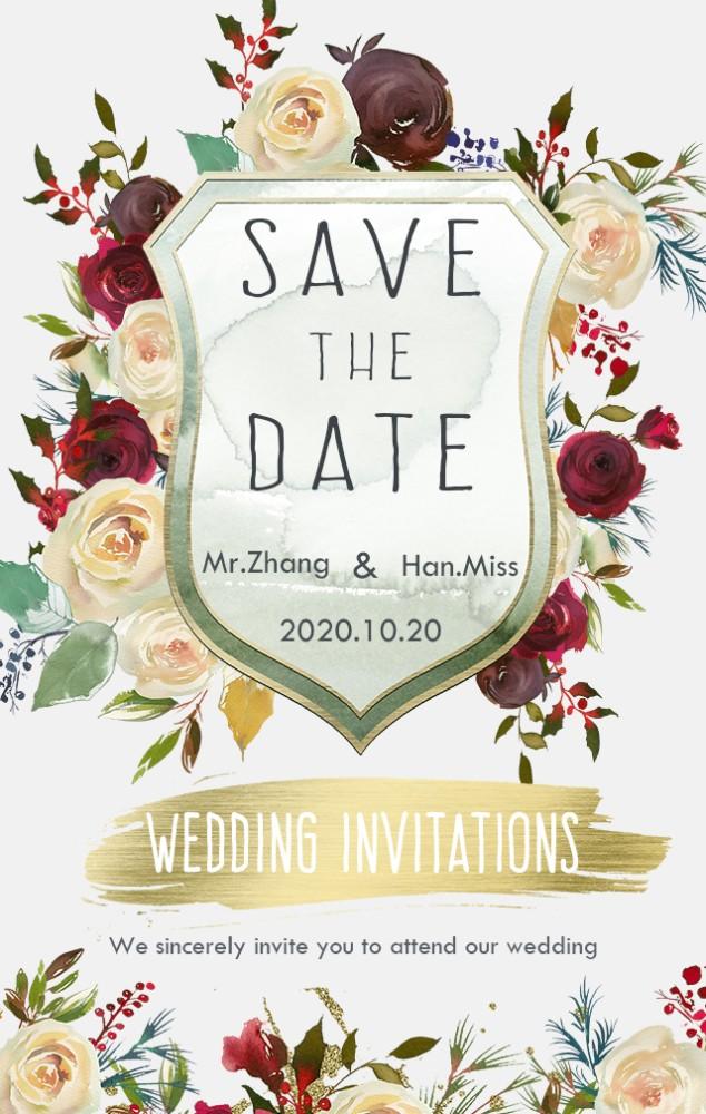 韩式清新森系唯美婚礼邀请函时尚浪漫结婚请帖