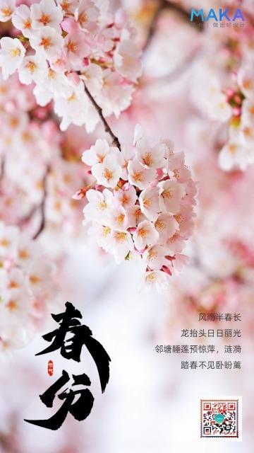 唯美浪漫二十四节气春分日签宣传海报
