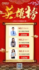 时尚炫酷保险公司销售光荣榜/荣誉榜/精英榜宣传海报