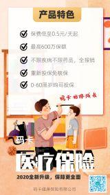 保险行业卡通手绘风格产品促销宣传海报模板