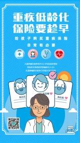 蓝色扁平重疾险医疗保险行业金融理财宣传海报