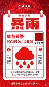极简扁平风暴雨天气红色预警通知宣传海报