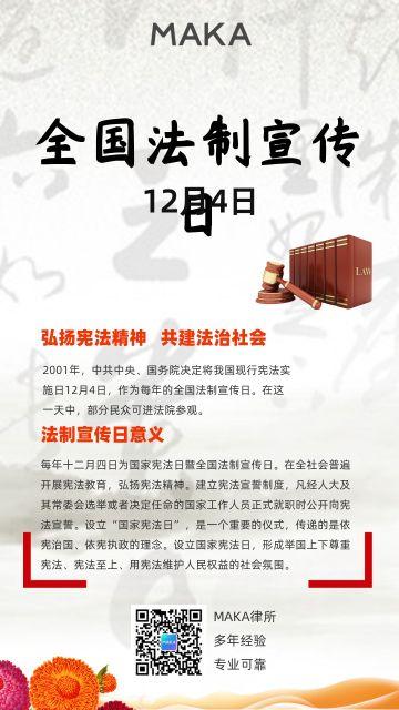 卡通手绘设计风格红色适合全国法制宣传日宣传使用的海报模版