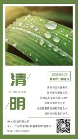 清新文艺清明节心情日签节日贺卡促销宣传海报手机版