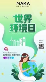 创意卡通世界环境日宣传海报